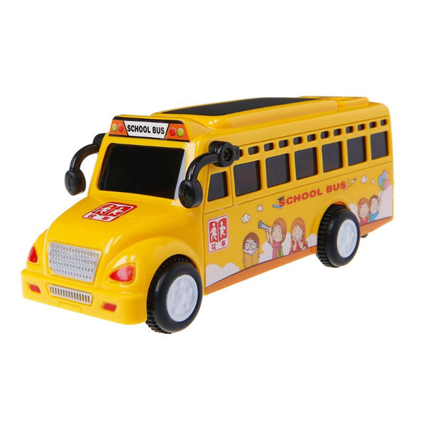 Inertial LED School Bus Vehicle Toys Mini Cartoon Model Toy Car for Kids Baby Gift