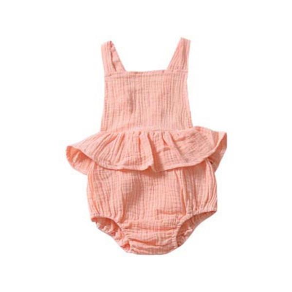 Kids Designer Brand Onesies Toddler Designer Fold Jumpsuits Open Back Strap Triangle Jumpsuit Solid Color Square Collar 61
