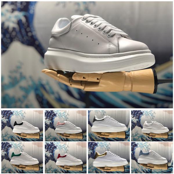2018 Desinger Mulheres Homens Tênis Sapatos Conforto Casuais Sapatos de Plataforma de Fundo Vermelho Mqueen Sapatos De Couro Lace Up Oxford Sapato de Couro 05