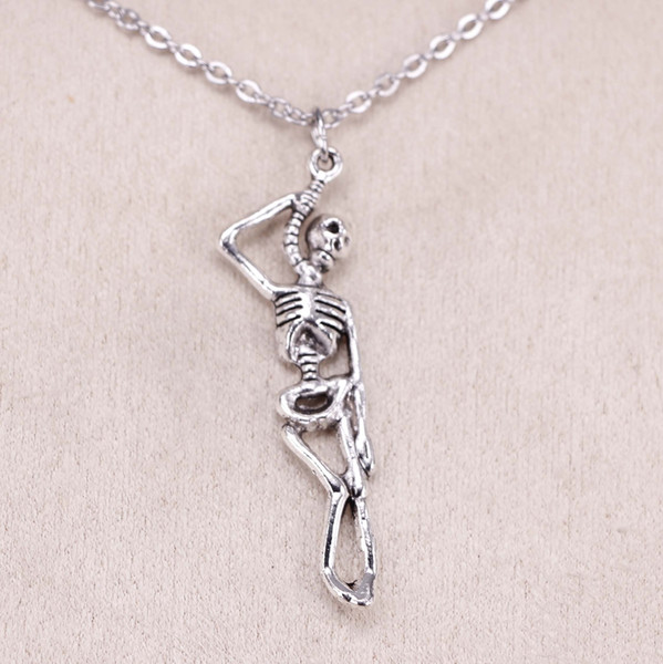 New Fashion Tibetan Silver Pendant skeleton man halloween 42*8mm Choker Charm Short Long DIY Necklace Factory Price Handmade Jewelry