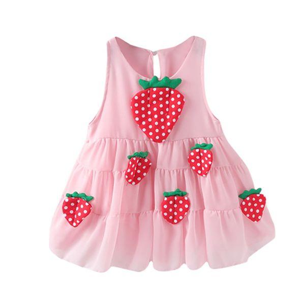 Девушки одеваются Vestidos лето Принцесса дети платья розовый клубника аппликации для партии свадьба девушка Детская одежда малыша 19Jan29
