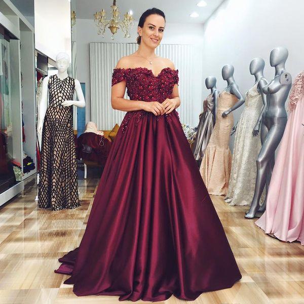 Elegante color borgoña fuera del hombro Vestido para fiesta de raso vestido de fiesta de noche con cuentas de flores en 3D de la novia Vestido de fiesta 2019