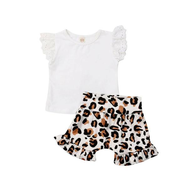 Nouveau tout-petits enfants bébé bébé léopard Vêtements T-shirt Top + Shorts