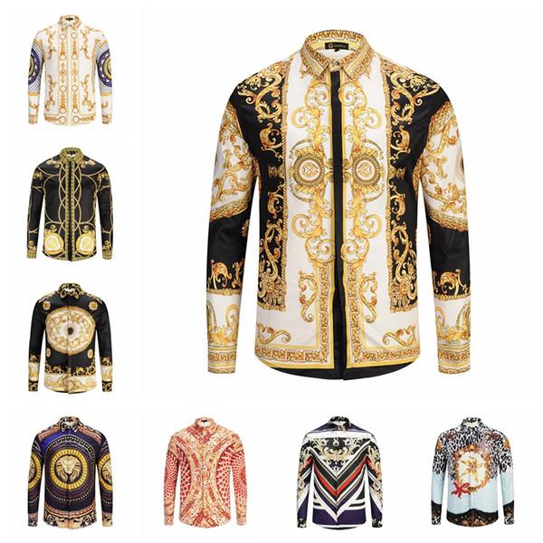 Men Medusa Shirts 3D Gold striped Floral tiger Print Colour Mixture Luxury Casual Harajuku Shirt Long sleeves blouse T-shirt LJJA2419