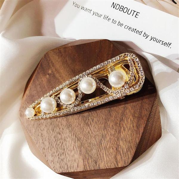 Hot hair accessories pearl hair clip for women snake print rhinestone embellishment barrette cute rhinestones duckbill clip