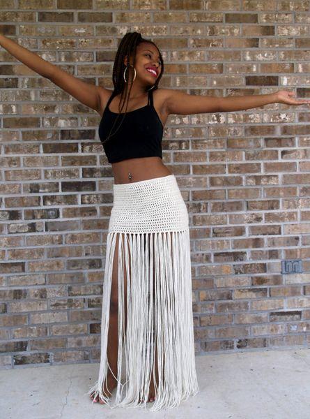 Custom Hand Crochet Fringe MAXI SKIRT, Floor Length Long Fringe,swimsuit cover up, bikini cover up, Bohemian, Belly Dance,Vanilla Cream