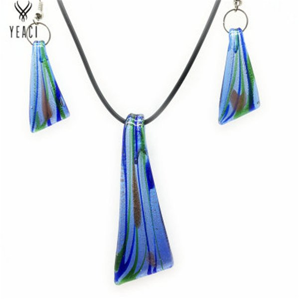 European And American Style Retro Fashion Glass Necklace Earrings Set Foreign Trade Hot Sale Painted Jinsha Glass Set Wholesale