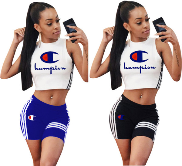 Champions women 2 piece shorts set outfit pullover crew neck sleeveless crop top t-shirt bodycon leggings shirts striped summer clothing 334