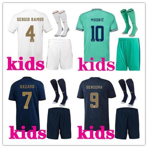 Crianças 2019 2020 kits de futebol Real Madrid futebol jersey 19/20 de futebol de futebol HAZARD BENZEMA ISCO MODRIC Kids kits de futebol