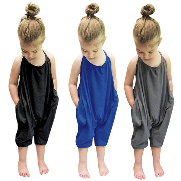 top popular Little Girls Cotton Onesies Rompers Kids Jumpsuits Overalls for Baby Cotton Backless Rompers Jumpsuits One Piece Grey Suspender Overalls 2019
