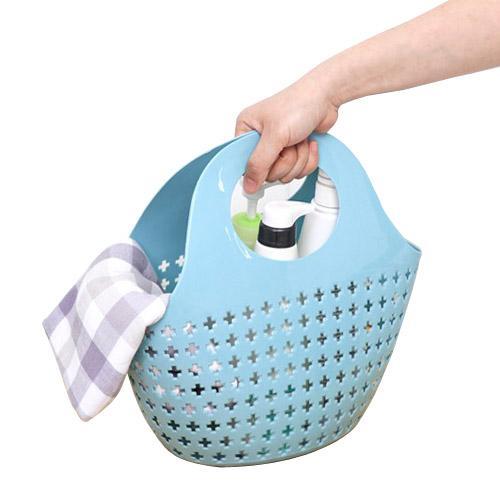 top popular Hollow Plastic Storages Baskets Bathrooms Fashionable Portable bathhouse bathroom items storage Basket 4 Color 2021