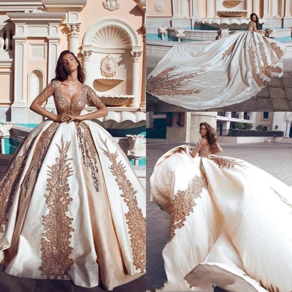 Nuovi abiti da sposa corsetto abito da ballo ha detto appliques d'oro Principessa Sheer Scoop collo maniche lunghe Appliqued abiti da sposa formale cappella treno