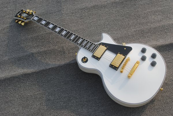Free shippingCustom Shop Rare White Electric Guitar Gold Hardware Could Custom Made Ebony Fretobard Frets Binding Chinese Guitars