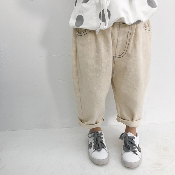 2019 Spring Korean Style Baby Kids Denim Trousers Loose Casual Unisex Toddlers Boys Girls Pants Children Clothes