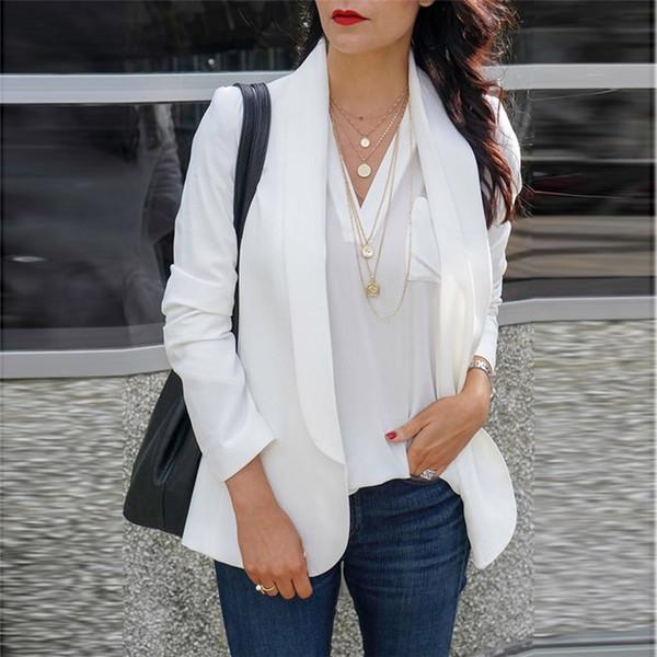 2019 Female Jacket Feminine Fashion Women Long Sleeve Blazer Open Front Cardigan Female Jacket Suit Work Office Knit Blazer