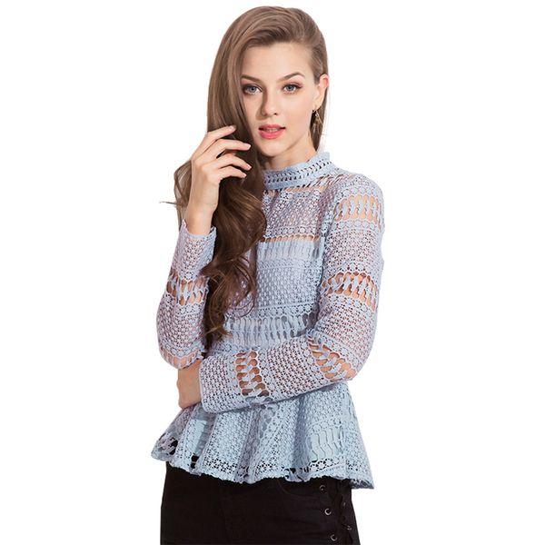Kai Kuo clothing Original design European and American fashion women's explosion models 2019 autumn and winter new chiffon lace shirt