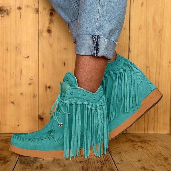 Fringe botas sem salto tornozelo mulheres Curto Botas Tassel Rodada Toe Quente étnico Antiderrapante Shoe Ladies Botas Mujer Dropship