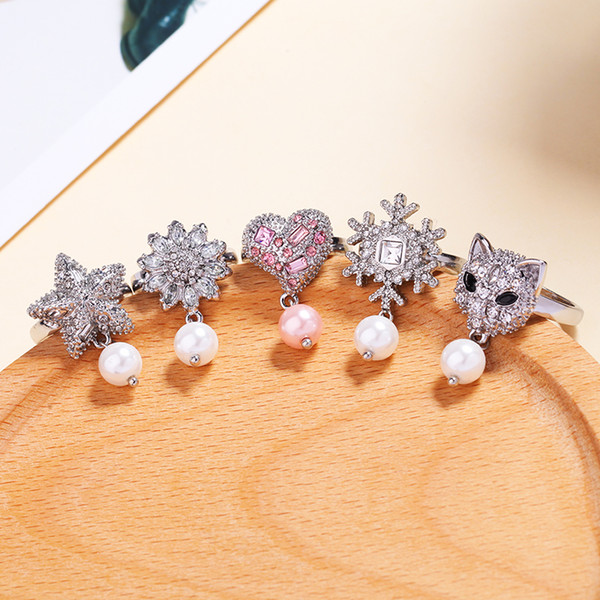 5 Styles Imitation Pearl Crystal Flower Heart Leopard Snowflake Star Rings For Women Luxury Engagement Wedding Ring