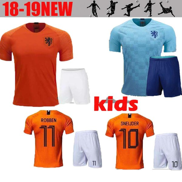 half off 4d733 5854f 2019 2018 World Cup Netherlands Home Robben Kids Soccer Jersey 18 19  Netherlands National Team Blue Child Kit #9 V.PERSIE Dutch Football Shirts  From ...