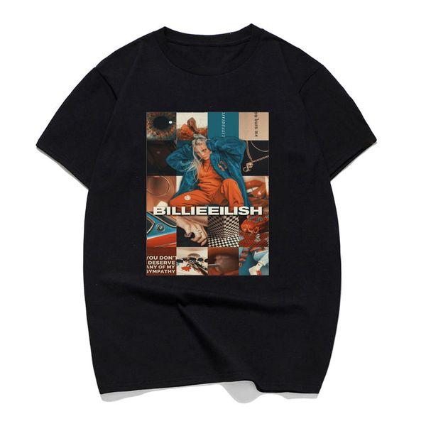 Billie Eilish Singer Ropa Hombre Casual T Shirt Mens T-shirts Pop Cotton 100% Short Sleeve Crewneck Summer 2019 Tee Shirt Homme