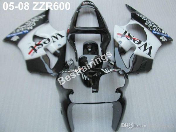 Injection mold free customize fairing kit for Kawasaki ZZR600 05 06 07 08 white black fairings set ZZR 600 2005-2008 ZV10