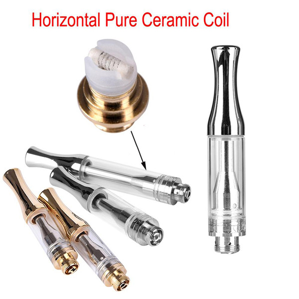 AC1003 disposable 510 Cartridge Shatter oil Ceramic Coil Glass Atomizer Vape pen 0.5ml 1ml Wickless Thick oil metal round mouthpiece Cart