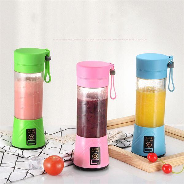 El más nuevo 4styles 380ML Personal Blender Travel Cup USB Portable Juicer Blender manual Botella recargable Fruta Vegetal Herramienta 6020