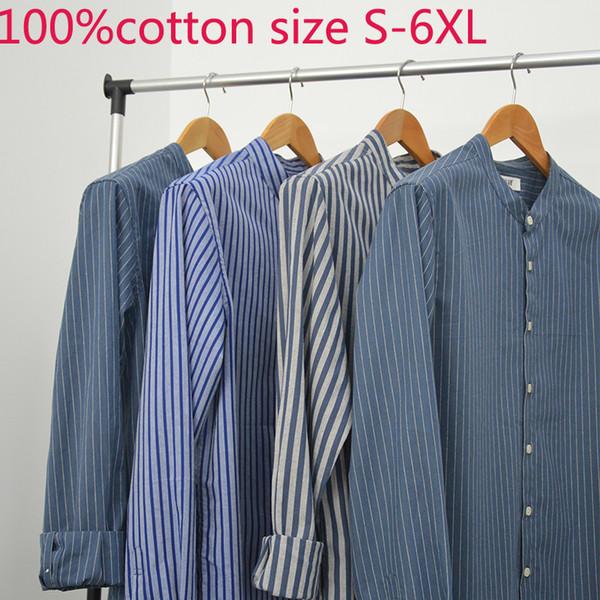 New Autumn Men Long Sleeve 100%pure Cotton Stripe Casual Shirts Mandarin Collar Fashion Plus Size S M L XL 2XL 3XL 4XL 5XL 6XL