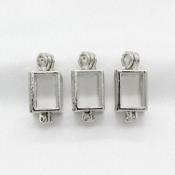 best selling 10pcs Hollow Silver Color Cuboid Pearl Cage Lockets Essential Oil Diffuser Bead Cage Pendant Necklace Charms for Oyster Pearl