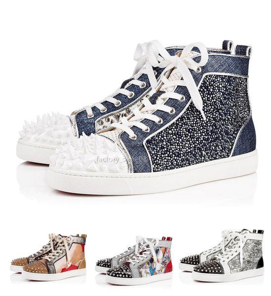 Дизайнер моды Red Bottoms обувь Шипованная Шипы плоские кроссовки для мужчин, женщин любителей Glitter партии из натуральной кожи Casual Rivet тапки