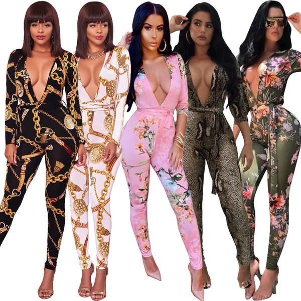 3199 Commerce de gros des femmes du commerce extérieur impression combinaison à manches longues vêtements de discothèque Ceinture inclus coton épais