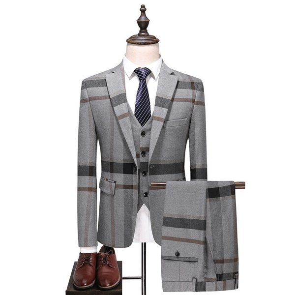 Men's suit three-piece suit (jacket + pants + vest) men's color matching plaid fashion classic men's suit male business formal suits