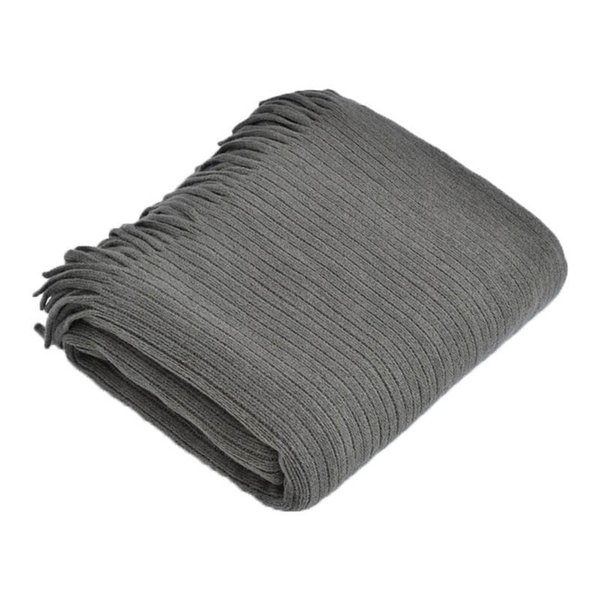 Nordic Style Knitted Stripe Throw Blanket White Pink Grey Tassel Blanket for Sofa Bed Travel Airplane Home Decoration Coberto