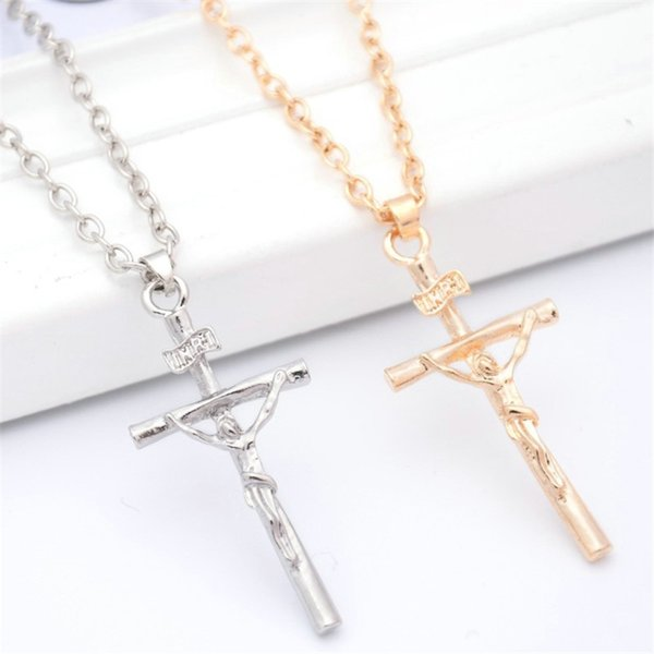 Crucifixo Cruz pingente de mulheres Homens jóias de ouro Banhado a Prata Colares de cadeia INRI Jesus