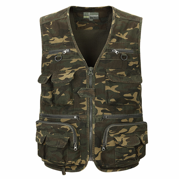 Men's military uniform camouflage multi-function quick-drying fishing outdoor reporter photography multi-pocket summer vest