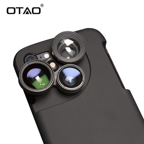 Otao 4 In 1 Mobile Phone Lensese Cases Full Coverage For Iphone X 8 7 6s 6 Plus Wide Angle Macro Fisheye Phone Lenses Black Case J190704