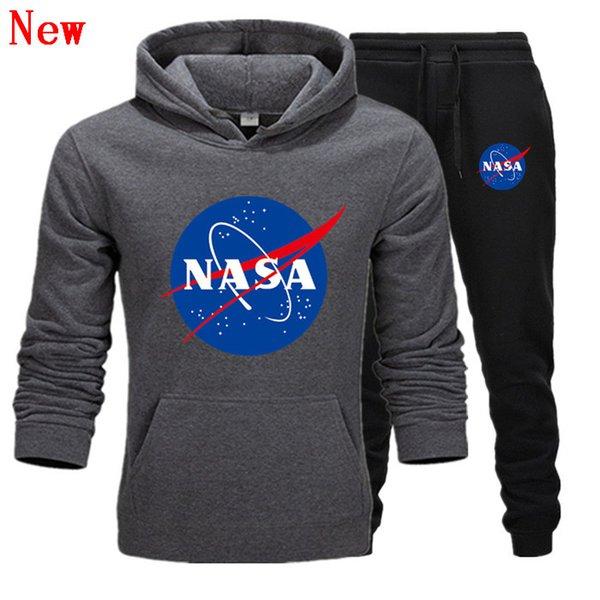Модельер NASA Спортивный костюм Весна Осень Повседневная Мужская Марка Спортивная Мужская Спортивные Костюмы Высокое Качество Толстовки Мужская Одежда QJ13