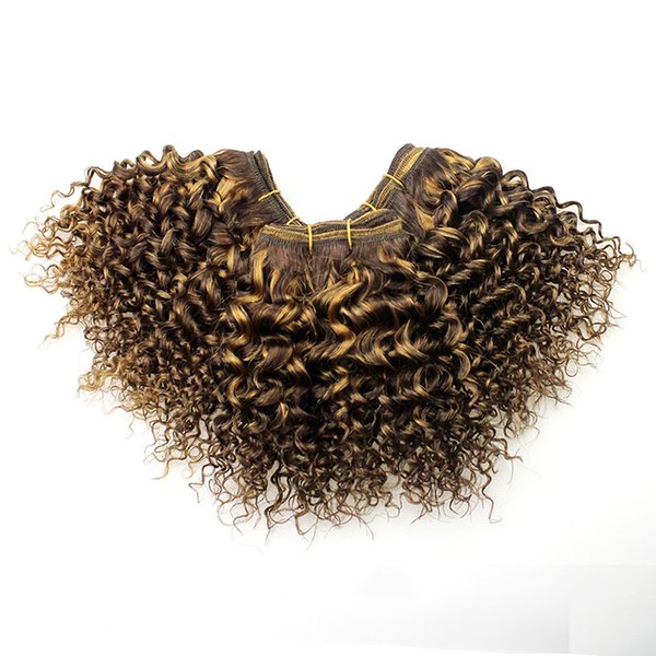 Nueva llegada Moda Bob Rizado Ola dibujada doble Ombre Coser en la trama brasileña del cabello humano Marrón claro a miel Rubio rizado rizado