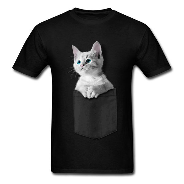Pocket Kitten Men T Shirts 2018 Newest Party Tops Shirt NEW YEAR DAY 100% Cotton Fabric Crew Neck Sweatshirts Short Sleeve