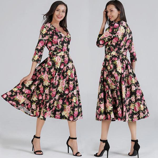 wholesale price 2017 Autumn Winter New Suit-dress Printing Dress Chalaza Degree Tightness Waist Longuette Single Row Buckle Pleated S