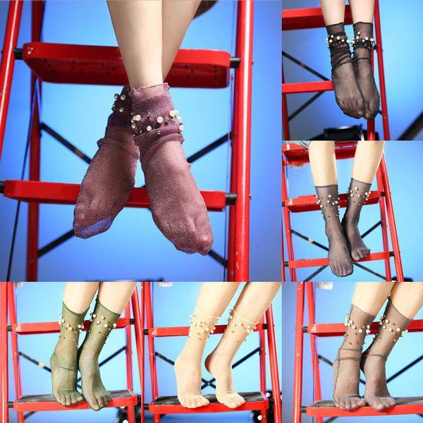 1 paire de dames Femmes Mode Nylon élastique courte cheville Sheer bas de soie avec perle solide mince de bas 6 style
