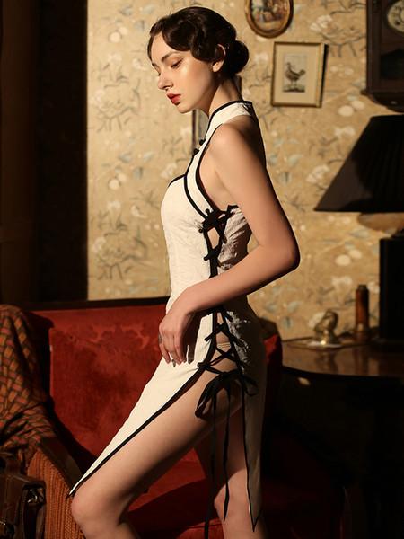 Taille libre vente chaude dames vêtements de nuit noeud chinois cheongsams creusent dames sans manches sexy portent des vêtements de sommeil # S336