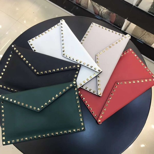 2019 New Production Genuine Real Cow Leather Skin Women Clutch In Long Big Size With Gold Stud Women Envelop Evening Clutch Case