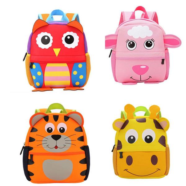 Children 3D Kids bag Cute Animal Design Backpack Toddler Kid School Bags Kindergarten Cartoon Bag Giraffe Monkey Owl