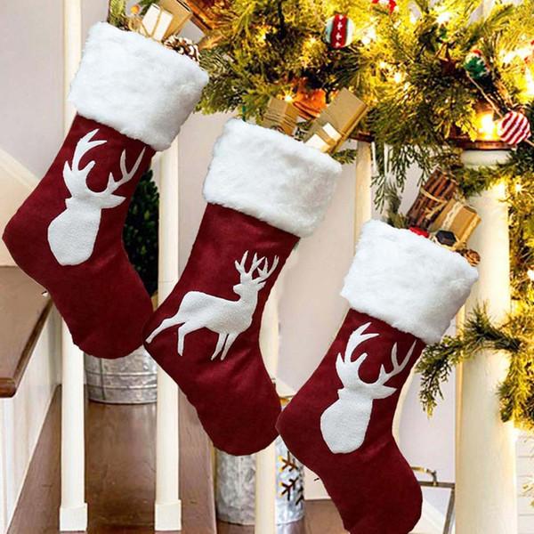 Christmas Santa Gift Stocking Christmas Tree Ornament Kids Candy Elk Sock New Year Party Prop Socks Xmas Decoration Sock Bag BH2489 TQQ