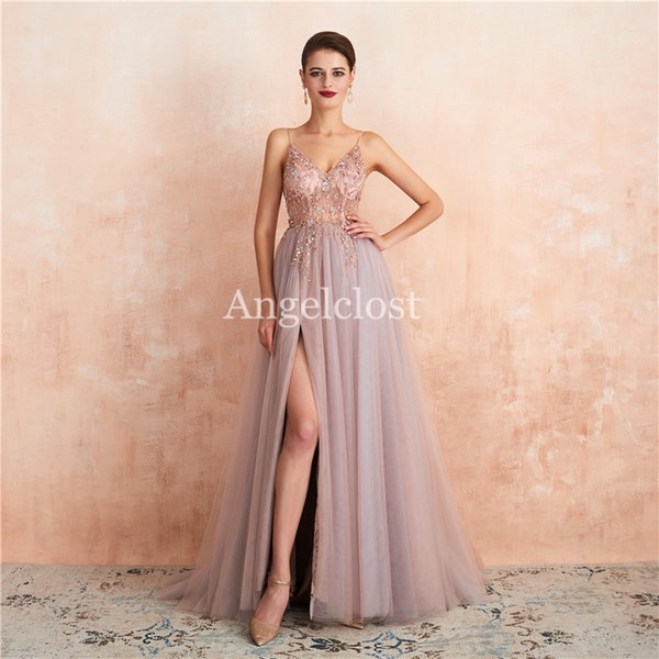 top popular New Pink Prom Dresses Long Spaghetti Strap Backless Beaded Crystal Side Split Evening Party Dresses Formal Gowns 2019 Vestido De Fiesta 2020