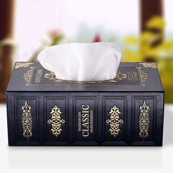Classical Vintage Book Shape Wood Tissue Box Case Wooden Paper Holder Home Decorative Table Accessories Free Shipping 20180920#