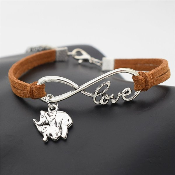 Hot Personalized Braided Brown Leather Rope Cuff Bracelets Bangles European Fashion Women Infinity Love Mom and Child Elephant Charm Jewelry
