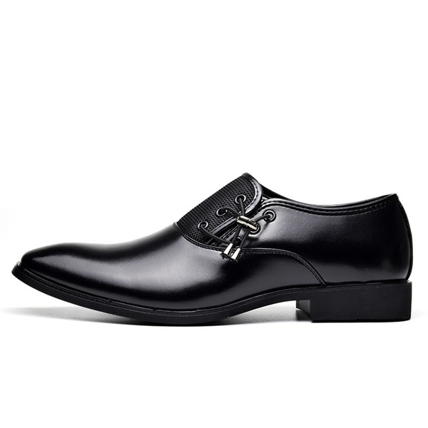 Mens Shoes Large Sizes 2018 Pu Leather Dress Shoes Men Formal Shoes Spring Pointed Toe Wedding Business Male