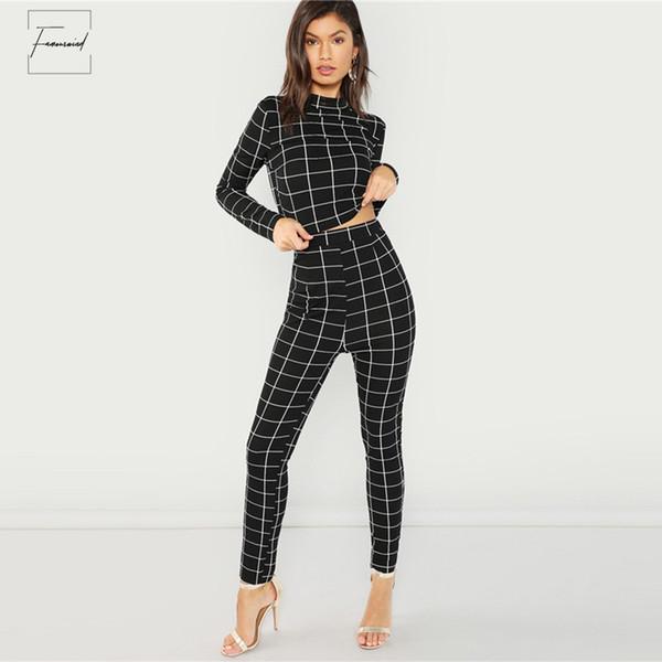 blackmock neck plaid pant sets set women stand collar long sleeve elegant two pieces spring plain twopiece